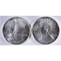 2 - 1986 AMERICAN SILVER EAGLE DOLLARS