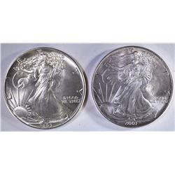 2001 & 1986 AMERICAN SILVER EAGLE DOLLARS
