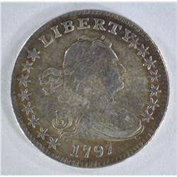 1797 DRAPED BUST DIME 15 STARS  CH AU