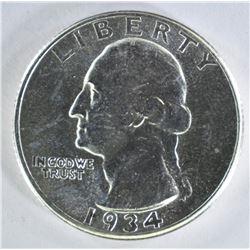 1934-D WASHINGTON QUARTER  GEM BU