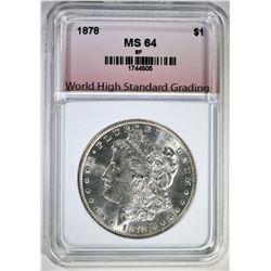 1878 8TF MORGAN DOLLAR, WHSG CH/GEM BU