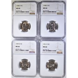 4 JEFFERSON NICKELS NGC MS-66