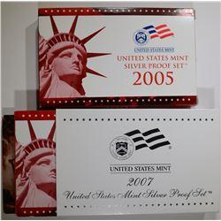 2007 & 2005 U.S. SILVER PROOF SETS