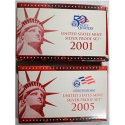 2005 & 2001 U.S. SILVER PROOF SETS