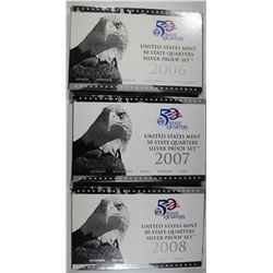 2006, 2007, 2008 U.S. SILVER PROOF QTRS