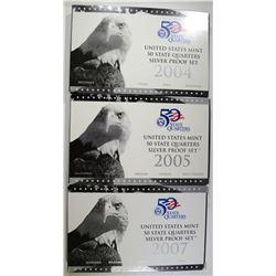 2004, 2005, 2007 U.S. SILVER PROOF QTRS