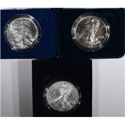 1988, 93 & 07-W GEM BU SILVER EAGLES IN BOXES
