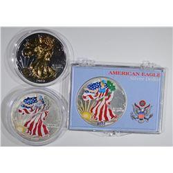 1999, 2000 & 07 COLORIZED AMERICAN SILVER EAGLES