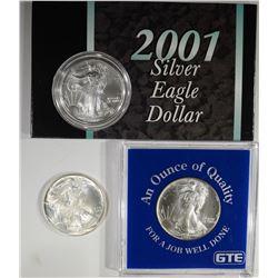 1992, 94 & 2001 GEM BU SILVER EAGLES IN HOLDERS