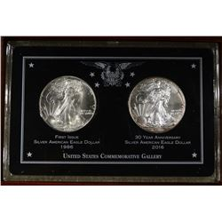 1986 & 2016 SILVER EAGLES IN WOODEN BOX NICE
