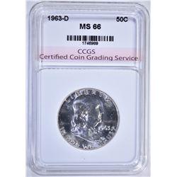 1963-D FRANKLIN HALF DOLLAR CCGS SUPER GEM BU