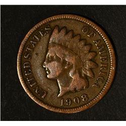 1908-S INDIAN CENT, FINE