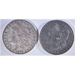 2 MORGAN DOLLARS: 1878 REV 79 XF &