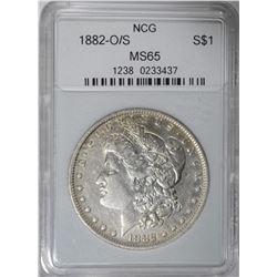 1882 O/S MORGAN DOLLAR NCG GRADED GEM BU