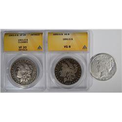 3 SILVER DOLLARS: 1892-S MORGAN ANACS VG 8,
