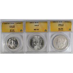3 ANACS GRADED COINS: 1886-O MORGAN DOLLAR