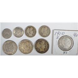 BARBER COINS:  HALF DOLLARS- 1902, 1910-S,