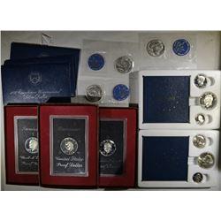 SETS: 3- 1973 BLUE IKE SILVER BU DOLLARS,