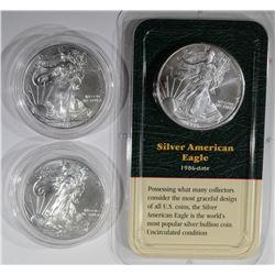 3 AMERICAN SILVER EAGLE DOLLARS:
