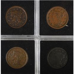 LARGE CENTS: 1845 VF, 1845 G, 1851 F-VF,