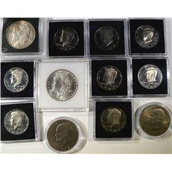 LOT: 2- IKE DOLLARS; PROOF KENNEDY HALF $'s: