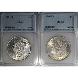 NNC GRADED MORGAN DOLLARS: 1881-O &