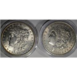 1887 CH BU & 1921 AU MORGAN DOLLARS