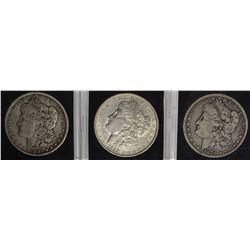 3 MORGAN DOLLARS: 1890 AU,