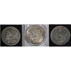 3 MORGAN DOLLARS: 1879-S VG,