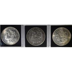 3 MORGAN DOLLARS: 1884-O BU,