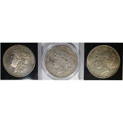 3 SILVER DOLLARS: 1880-S MORGAN BU,