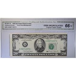 1990 $20 FEDERAL RESERVE NOTE  CGA GEM UNC-OPQ
