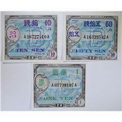 SERIES 100 TEN SEN, FIFTY SEN & ONE YEN  GEM CU