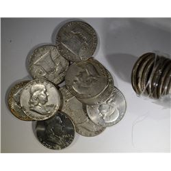 TUBE OF 20 FRANKLIN HALF DOLLARS