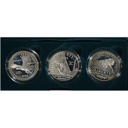 1994 U.S. VETERANS 3-PIECE COMMEM PR SILVER DOLLAR