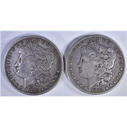 1883-S & 84-S VF+ MORGAN DOLLARS