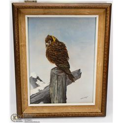 SCHOENBERGER OIL PAINTING OF OWL , VINTAGE FRAMED