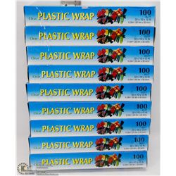 9 ROLLS OF CLEAR PLASTIC WRAP