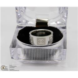 STAINLESS STEEL CHANEL LOGO RING