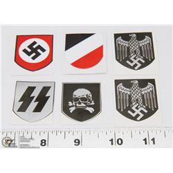 LOT OF 6 NAZI GERMAN SS STICKERS.