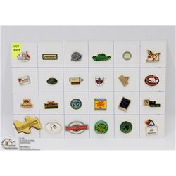 SHEET OF ASSORTED COMPANY PINS
