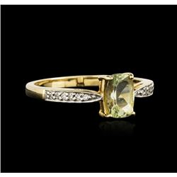 14KT Yellow Gold 0.79 ctw Green Tourmaline and Diamond Ring