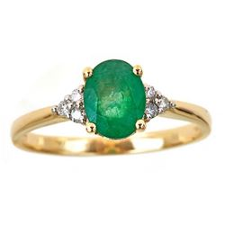 1.22 ctw Emerald and Diamond Ring - 14KT Yellow Gold