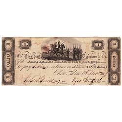 1814 $1 Jefferson - Bank of New Salem ,OH - Obsolete Bank Note