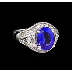 14KT White Gold 3.28 ctw Tanzanite and Diamond Ring