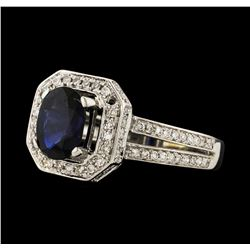 1.44 ctw Sapphire and Diamond Ring - 14KT White Gold