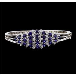 5.44 ctw Sapphire and Diamond Bangle Bracelet - 14KT White Gold