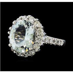 3.76 ctw Aquamarine and Diamond Ring - 14KT White Gold