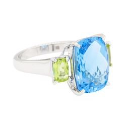 10.16 ctw Blue Topaz and Peridot Ring - 14KT White Gold
