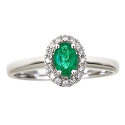 0.46 ctw Emerald and Diamond Ring - 14KT White Gold